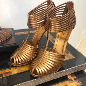Gucci Bronze Snake Skin sandals